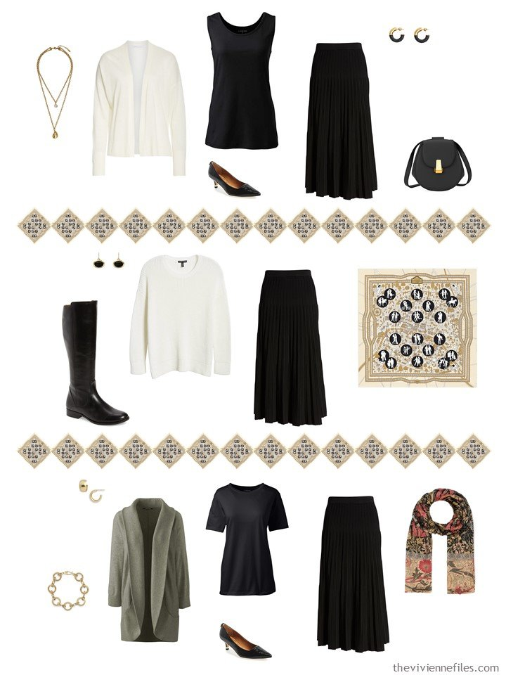 36. adding a black skirt to a capsule wardrobe