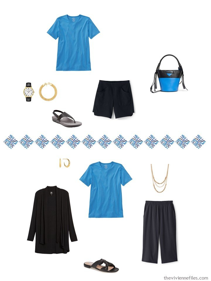 4. 2 ways to wear a blue tee shirt from a capsule wardrobe