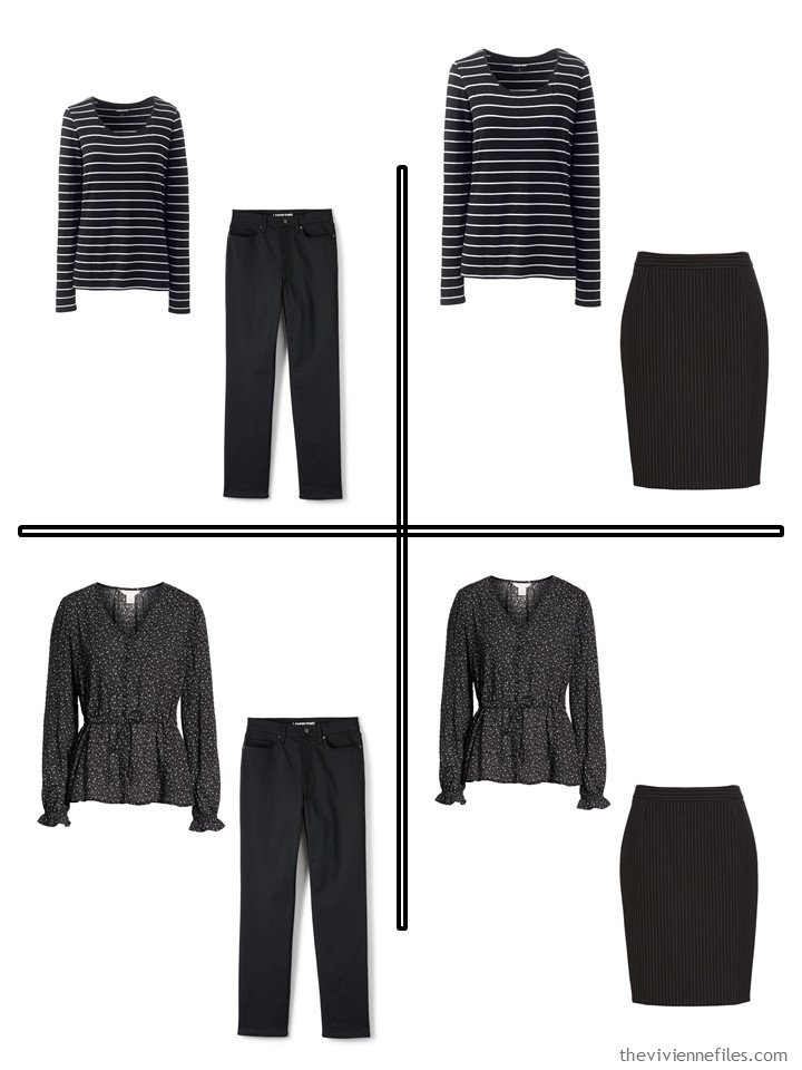 4. 4 outfis from a 5-piece wardrobe cluster in black