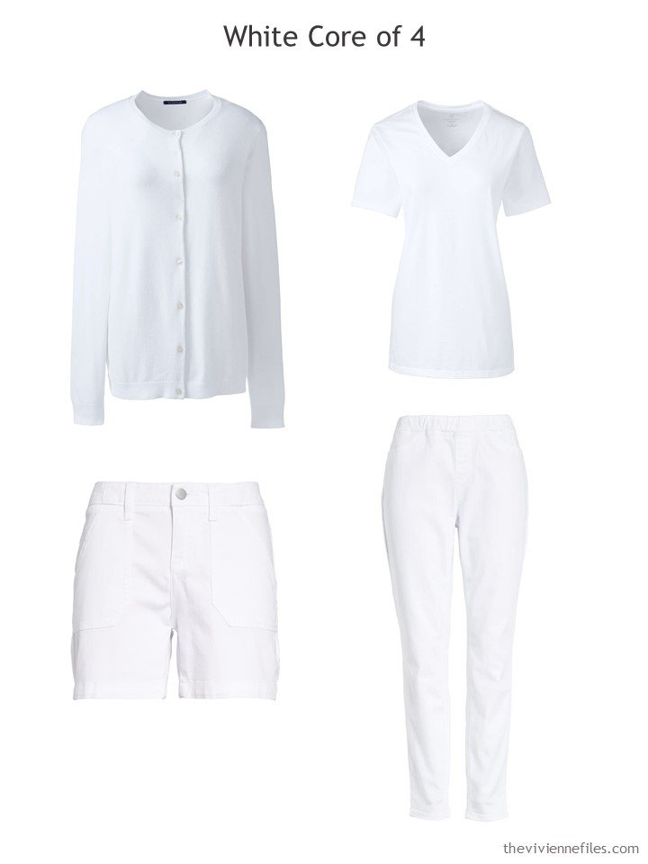 4. White Core of Four for a travel capsule wardrobe