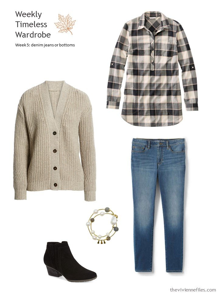 4. blue jeans with beige cardigan