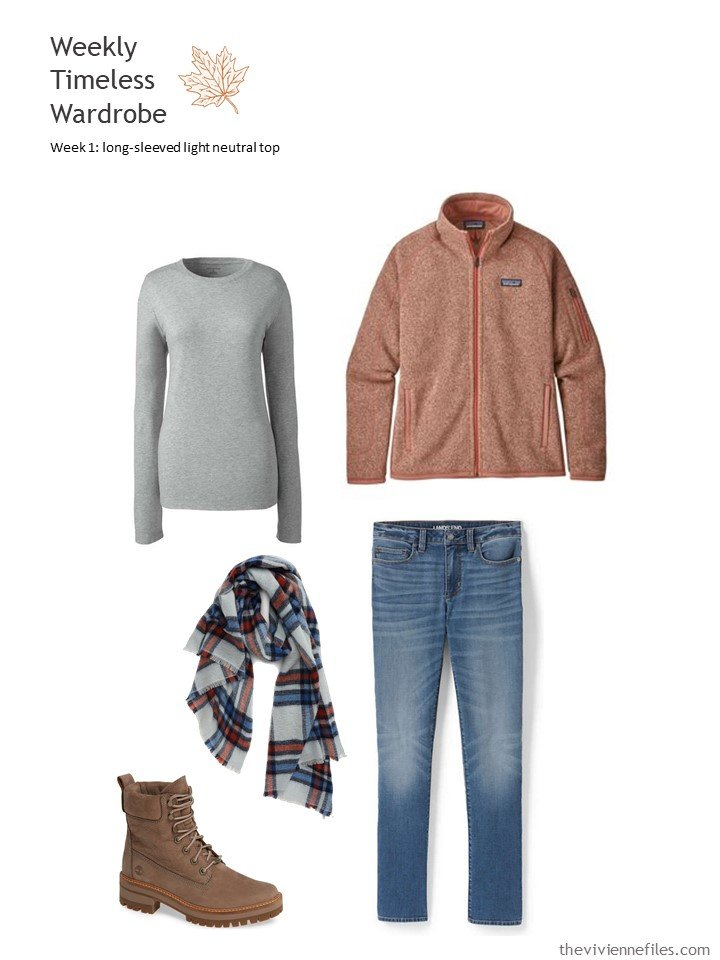 4. grey long-sleeved tee with jeans and rust fleece