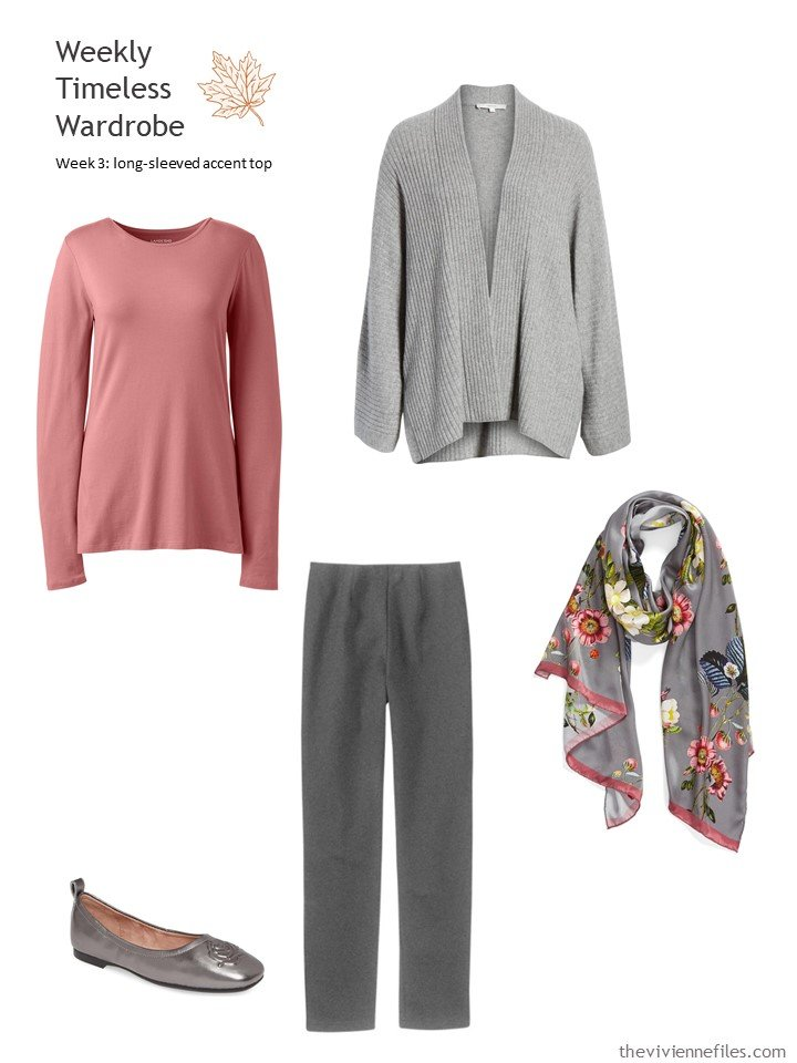 4. grey outfit with rose accent top
