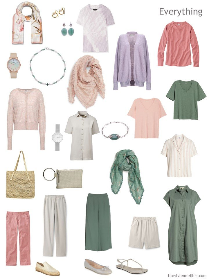 4. travel capsule wardrobe in taupe, rose, moss and lavender
