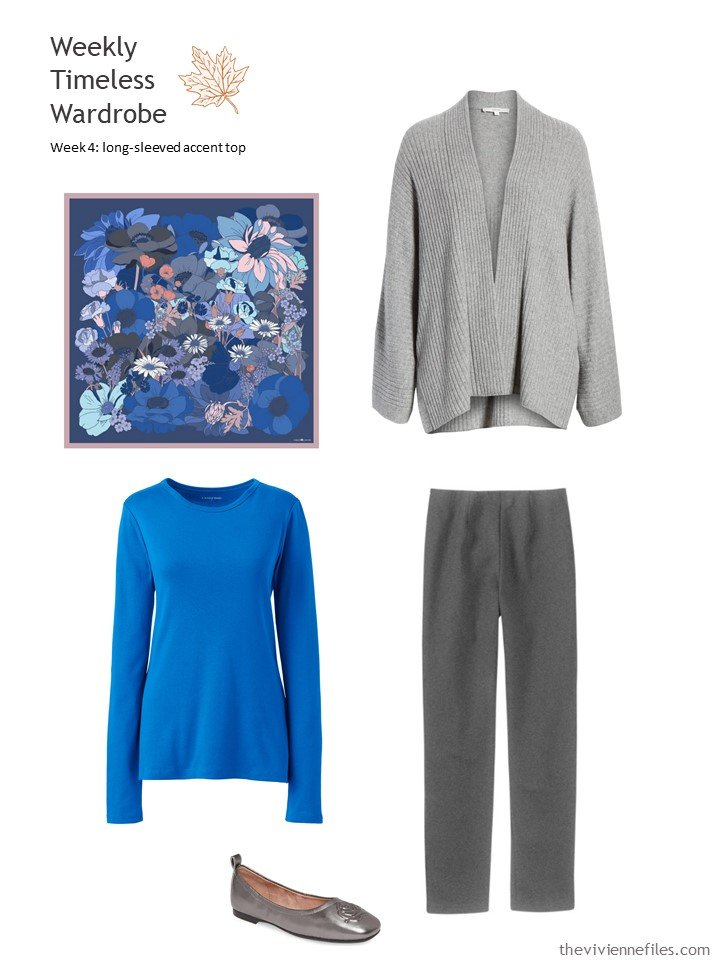 4. wearing bright blue with grey