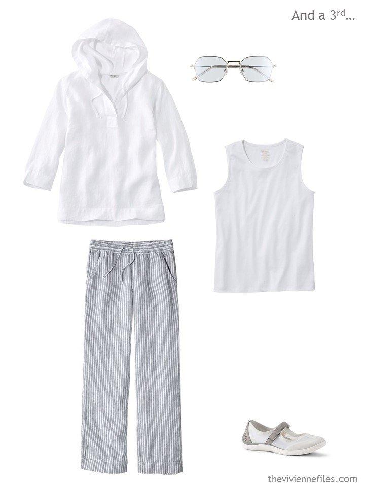 4. white linen top, white tank top, striped linen pants