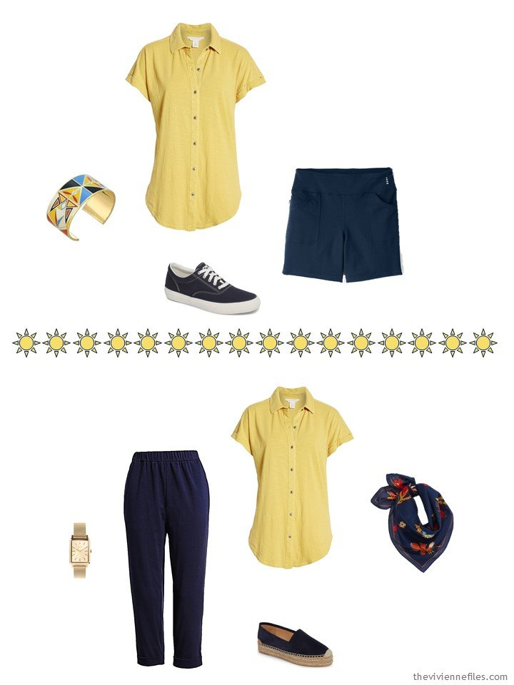 5. 2 ways to wear a yellow shirt from a capsule wardrobe