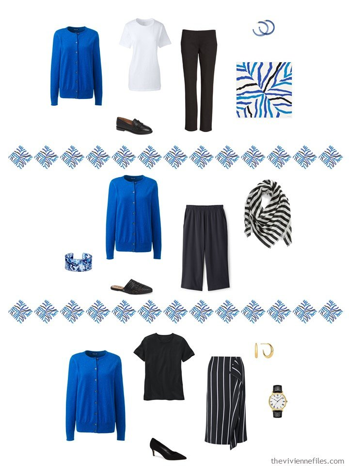 5. adding a blue cardigan to a capsule wardrobe