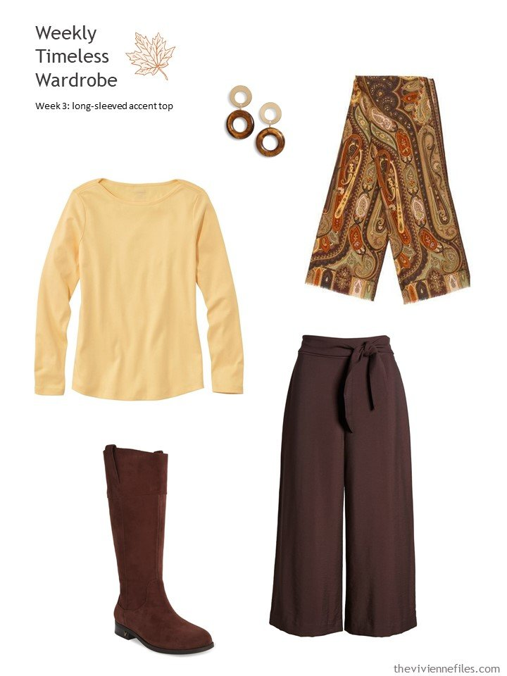 5. brown pants with yellow accent top