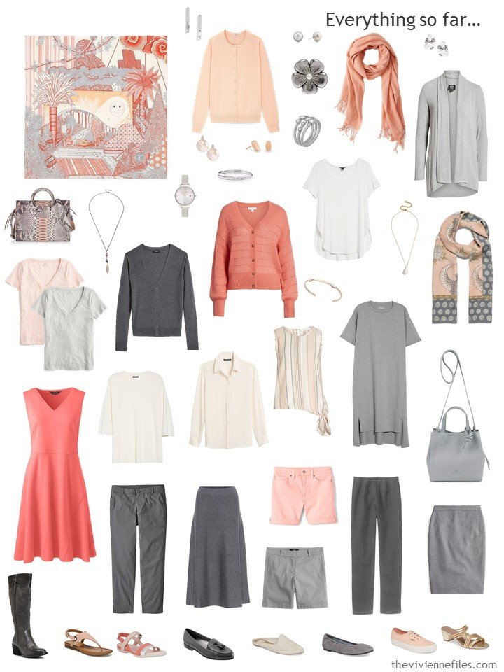 5. capsule wardrobe in shades of grey and shades of orange to blush