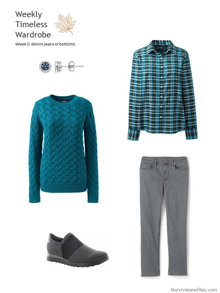 5. grey jeans worn with a teal sweater