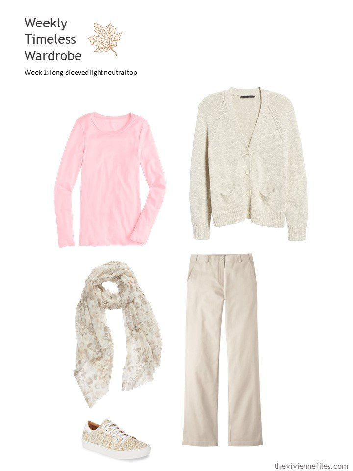 5. pink tee with beige cardigan and pants