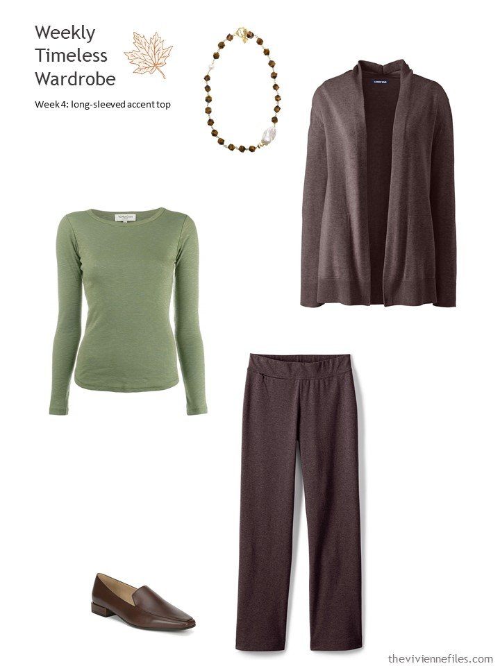 5. wearing moss green with brown