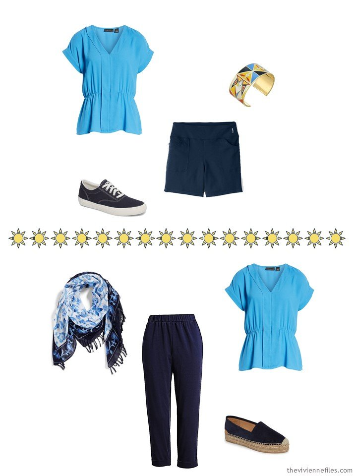 6. 2 ways to wear a blue top from a capsule wardrobe