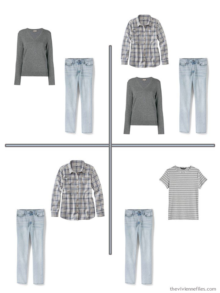 6. 4 outfits from a 5-piece wardrobe cluster in grey and denim