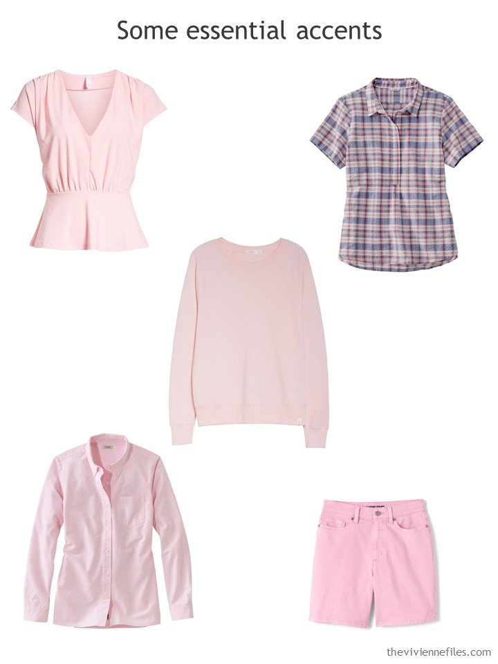 6. Five pink accent garments for a travel capsule wardrobe