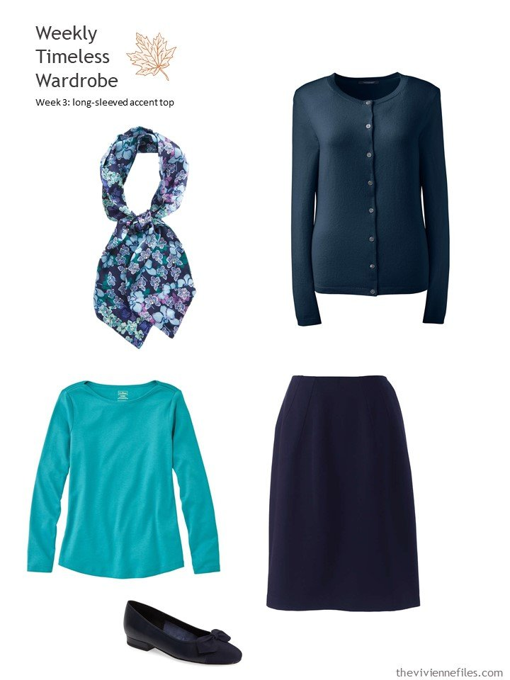 6. navy outfit with turquoise accent top