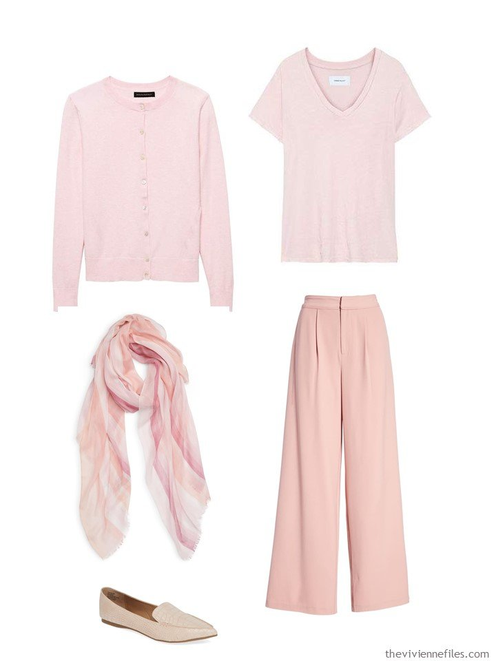 6. outfit in tones of blush and pink