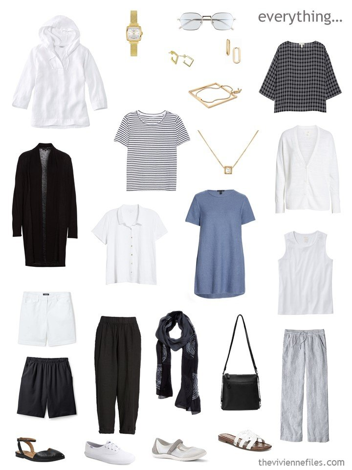 6. travel capsule wardrobe in black, white and chambray blue