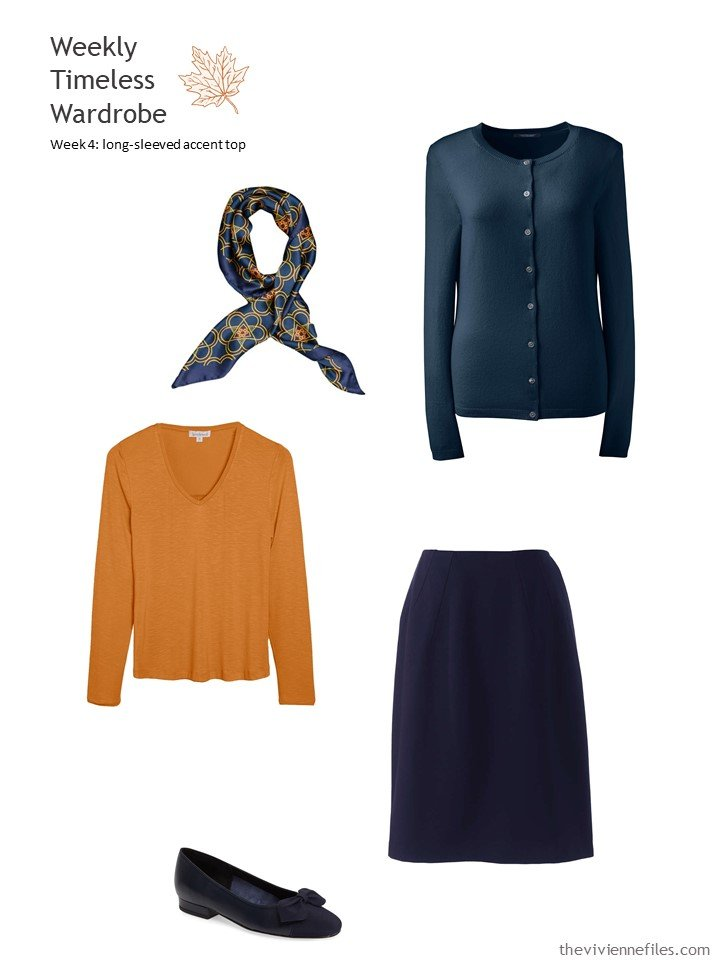 6. wearing pumpking orange with navy