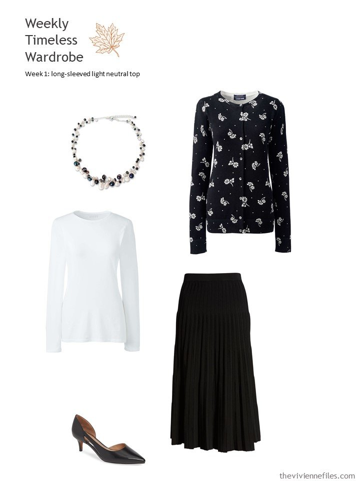 6. white tee with black skirt and floral cardigan