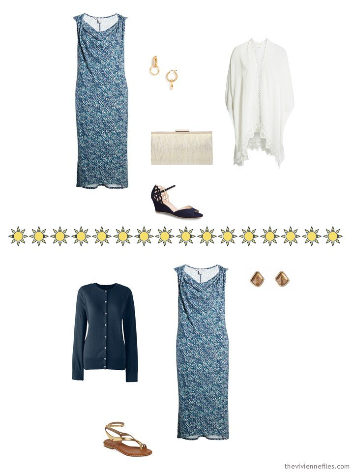 7. 2 ways to wear a print dress from a capsule wardrobe