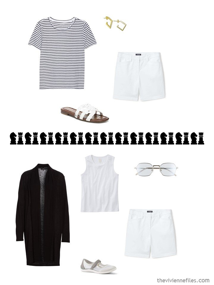 7. 2 ways to wear white shorts in a travel capsule wardrobe