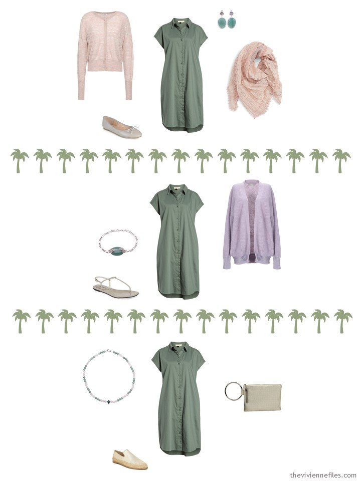 7. 3 ways to wear a green dress from a travel capsule wardrobe