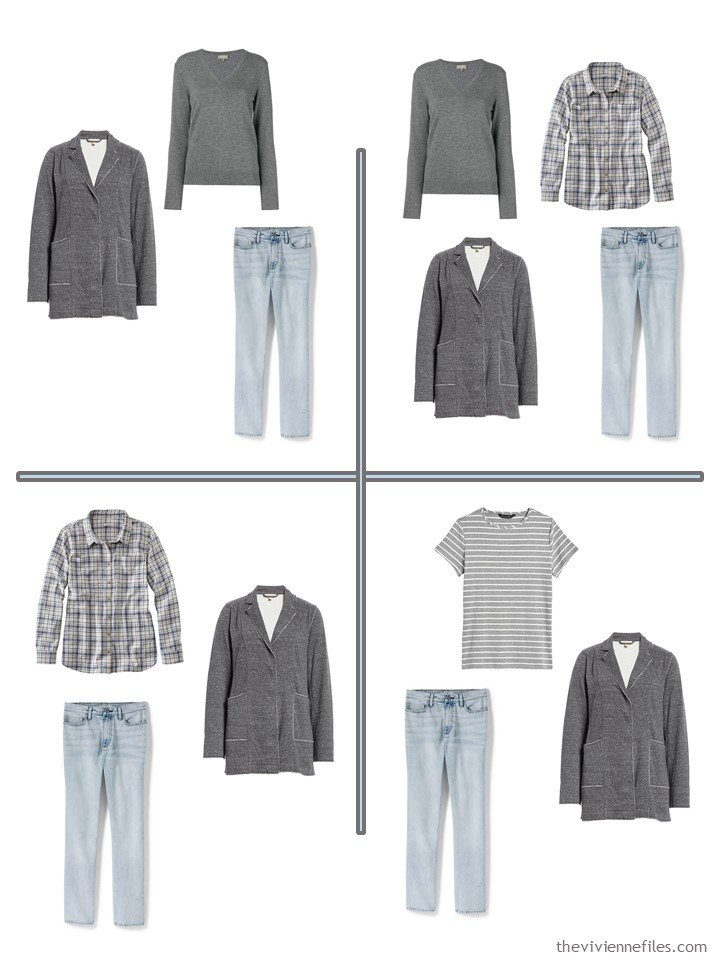 7. 4 outfits from a 5-piece wardrobe cluster in denim and grey