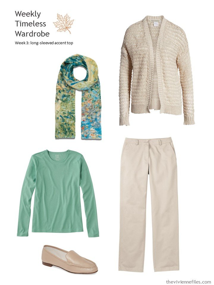 7. beige outfit with green accent top