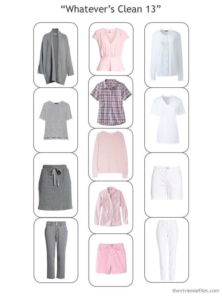 7. complete Whatevers Clean 13 travel capsule wardrobe in grey, pink and white