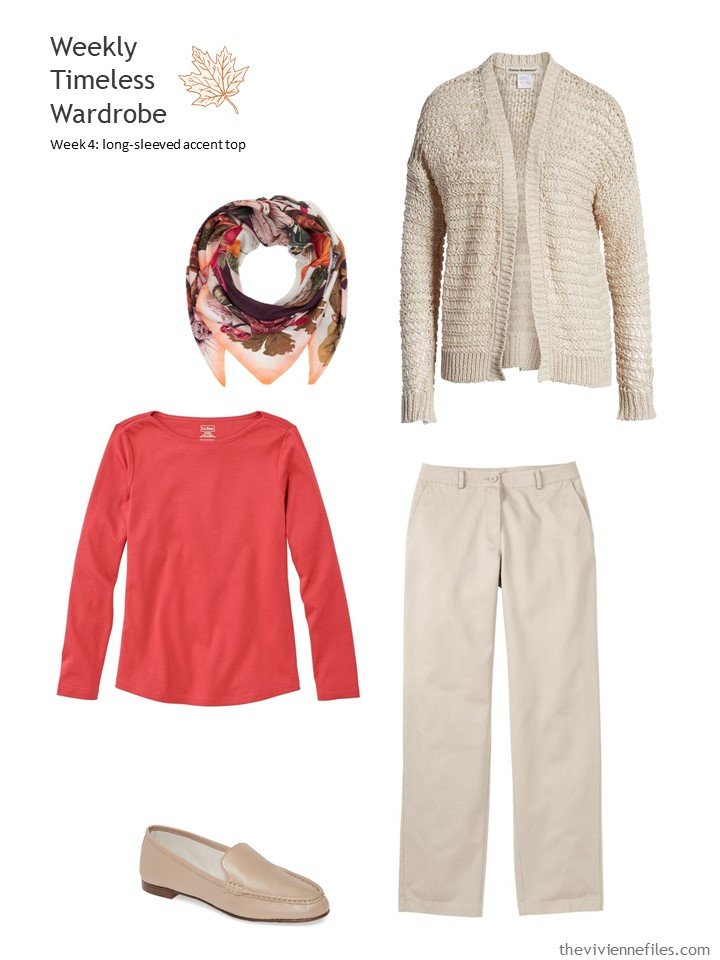 7. wearing warm red with beige