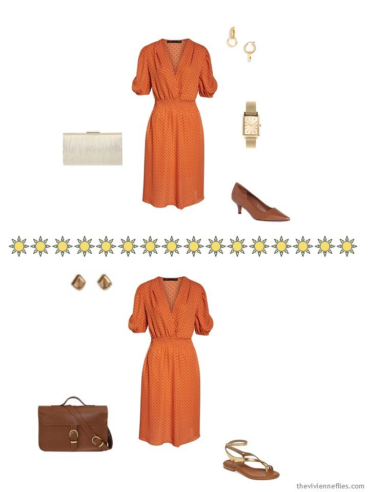 8. 2 ways to wear an orange dress from a capsule wardrobe