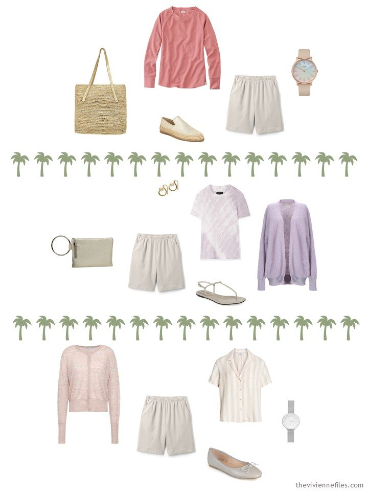 8. 3 ways to wear taupe shorts from a travel capsule wardrobe