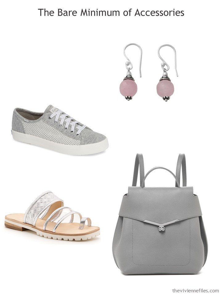 8. Essential accessories for a travel capsule wardrobe in grey, pink and white