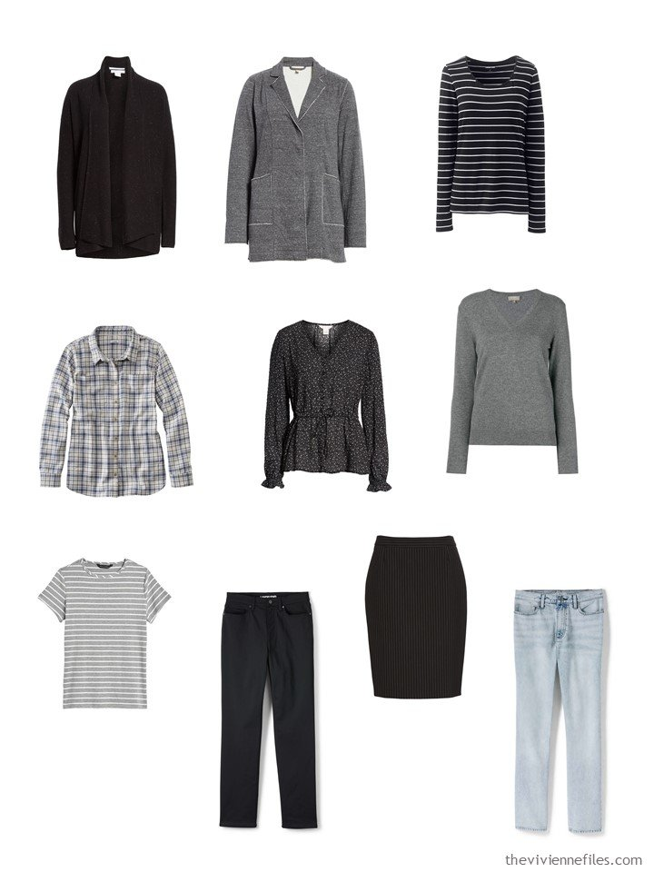 8. a 10-piece travel wardrobe combining 2 5-piece clusters