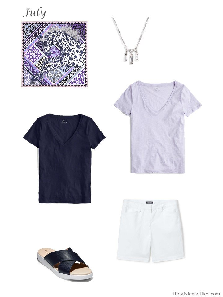 8. adding navy and lilac tee shirts and white shorts to a capsule wardrobe