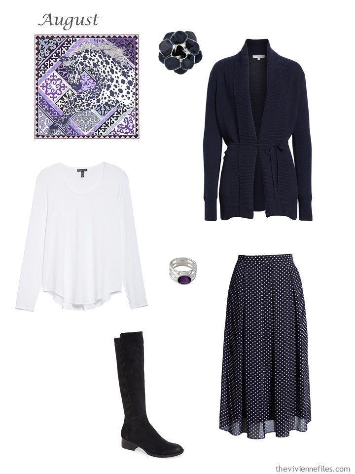8. navy cardigan, white tee and navy dotted skirt