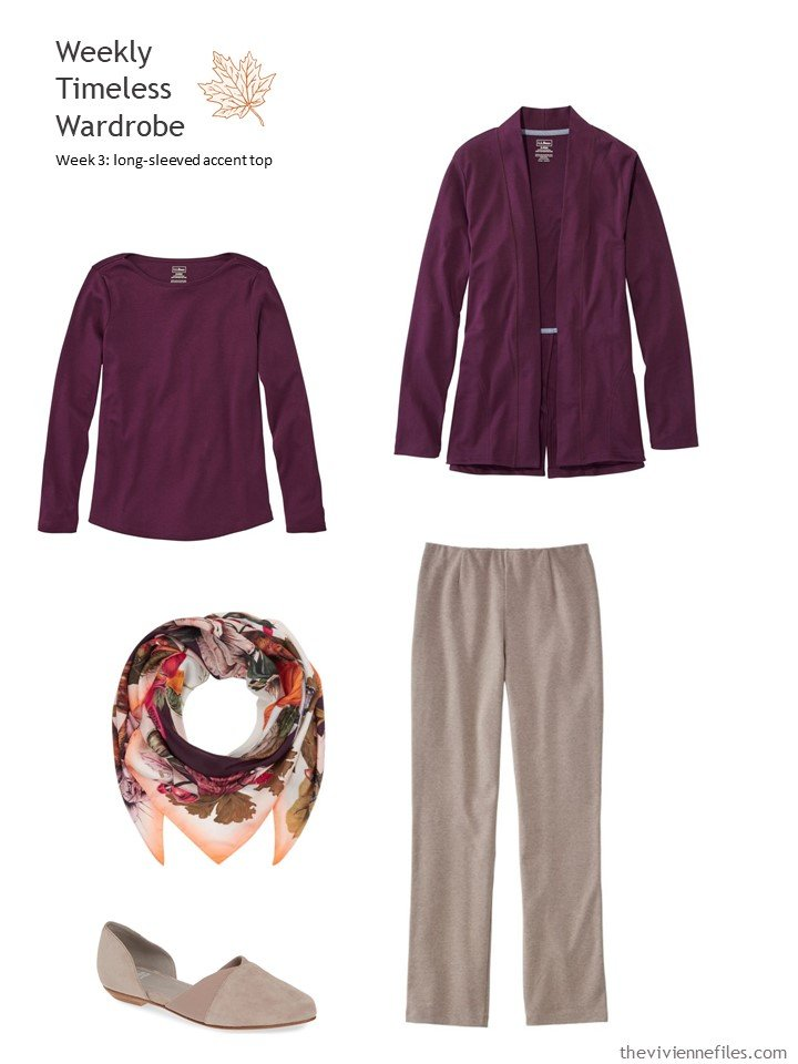 8. sable pants with plum accents