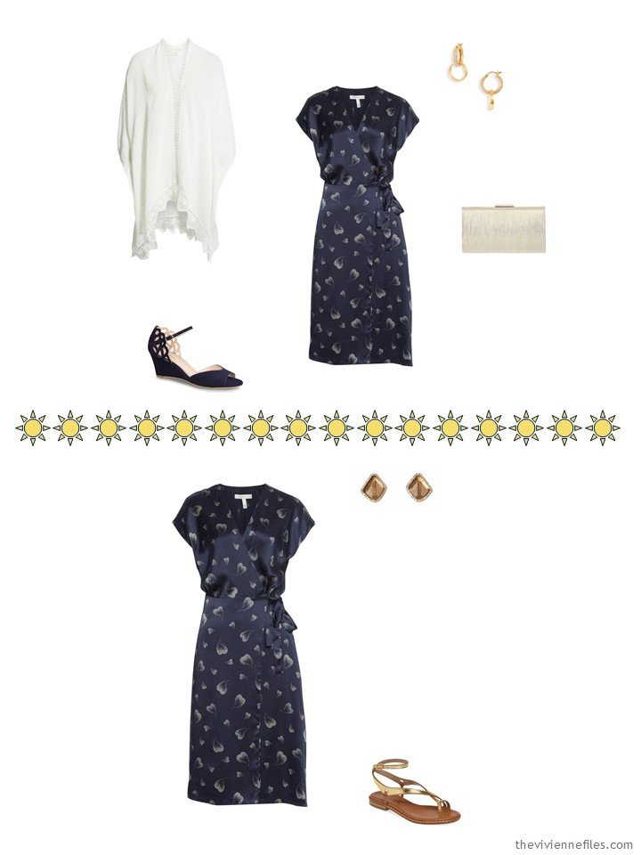 9. 2 ways to wear a navy print dress from a capsule wardrobe