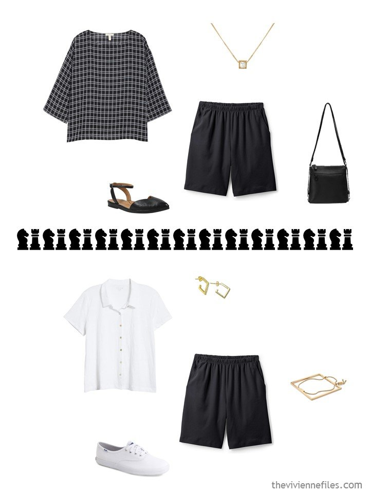 9. 2 ways to wear black shorts in a travel capsule wardrobe