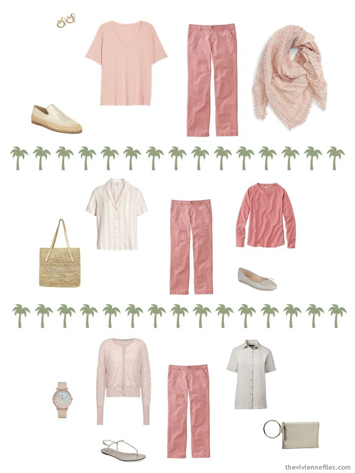 9. 3 ways to wear rose pants from a travel capsule wardrobe
