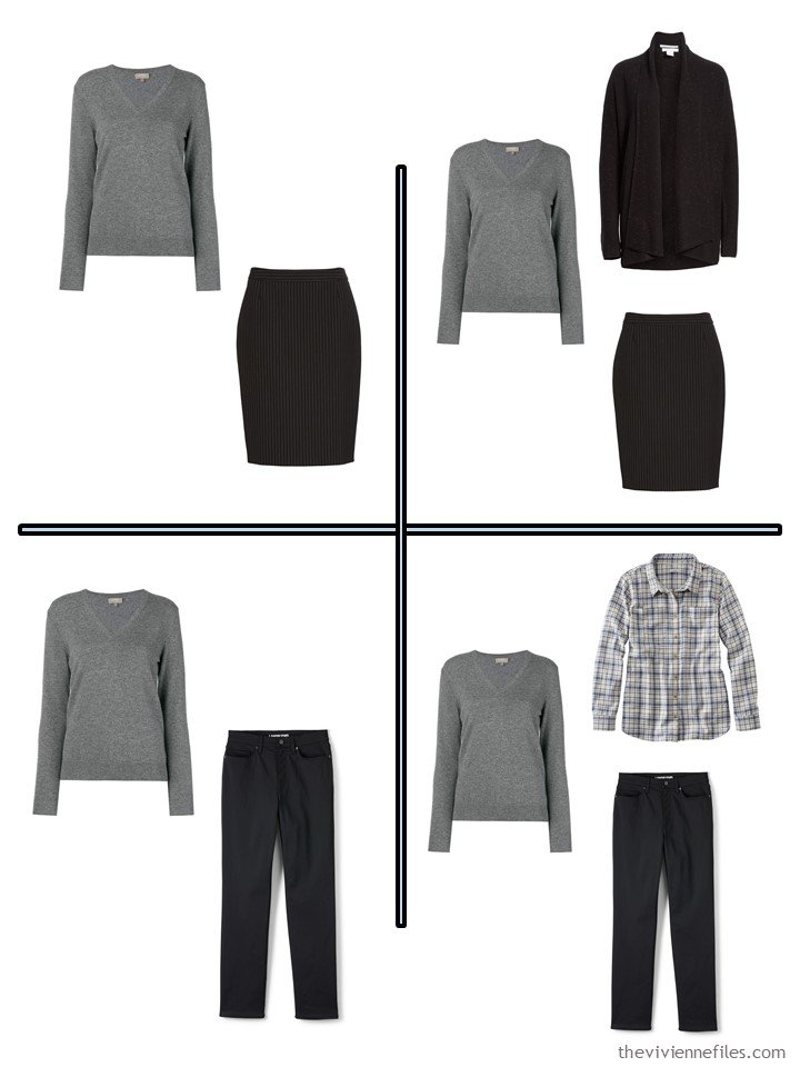 9. 4 outfits from a 10-piece travel capsule wardrobe