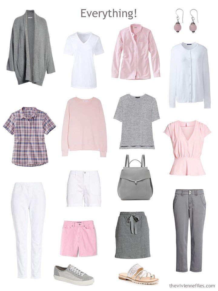 9. Travel capsule wardrobe in pink, grey and white