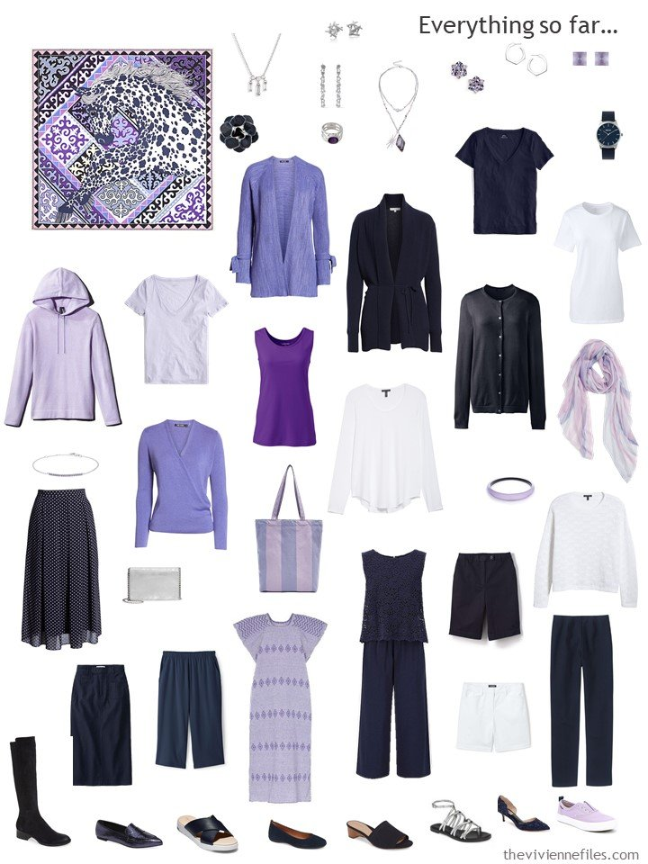 9. capsule wardrobe in navy and white with shades of purple