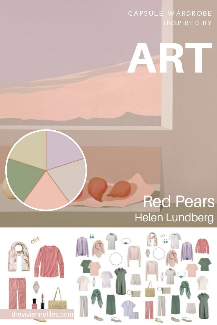 CREATE A TRAVEL CAPSULE WARDROBE BY STARTING WITH ART: RED PEARS BY HELEN LUNDBERG