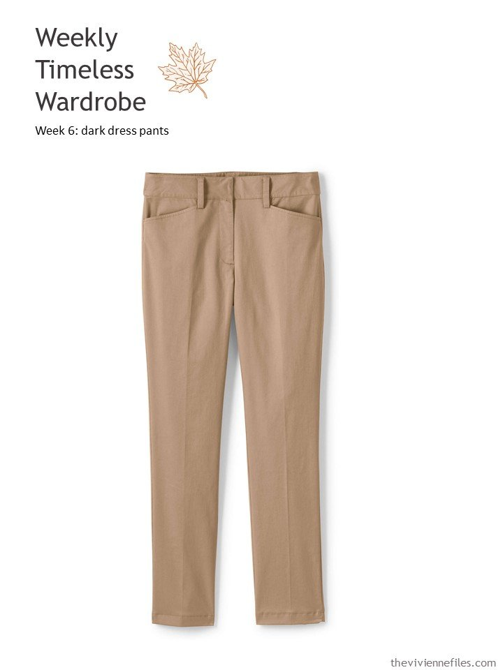 1. adding a pair of cocoa brown pants to a Weekly Timeless Wardrobe