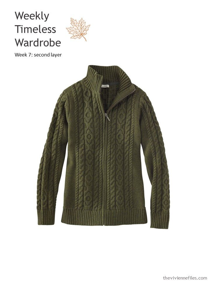 1. olive cabled cardigan