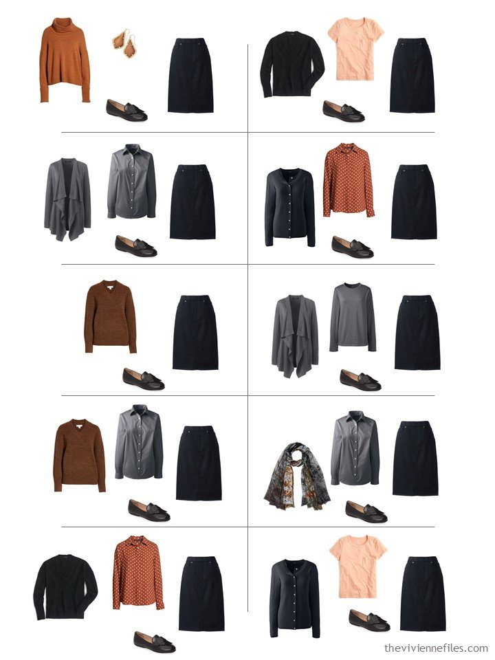 10. 10 ways to wear a black denim skirt from a travel capsule wardrobe