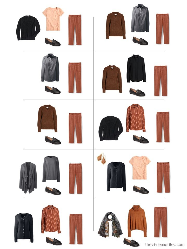 11. 10 ways to wear rust pants from a travel capsule wardrobe